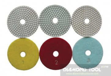 3-step dry/wet diamond polishing pads sets